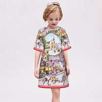 Wholesale Wl Monsoon Princess Dress Girl Costume Short Sleeve Girls Dress Children Clothing Lemon Pattern Fashion Kids Clothes Dresses for Girls