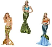 beach ball games - Halloween Costume Ball Cosplay Women s Beach Mermaid Maxi Dress Sets for Costume Party Mermaid Mystery Fun Game Uniform Set