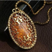 amber sweaters - N286 Latest Fashion Autumn Amber Inlay Hollow Imitation Diamond Retro Sweater Chain Long Necklace Jewelry Factory Direct