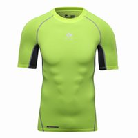 fitness body building - 2016 Men s Clothing Fashion Workout Fitness Compression Base Layer Tshirt Sports Body Building Tops Tee Shirts M XL Contrast Color