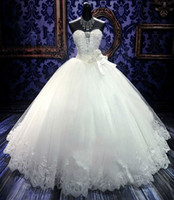 Wholesale Beaded Sweetheart Tulle Ball Gown Wedding Dress With Lace Appliques White Ivory Bridal Gowns Lace Up