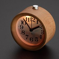 Wholesale Creative Small Round Classic Wood Silent Desk Travel Alarm Clock with Nightlight
