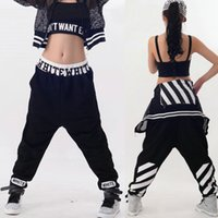 Wholesale Kids Adult loose Jazz Harem Hip hop dance Pants Costumes stage performance wear Black White Strip Trousers