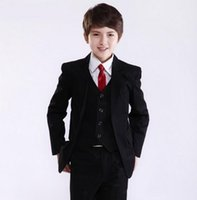 accessories suit jacket - New Hot Sale Black Boy Wedding Suit Groom Wear Accessories Boy s Attire Groom Tuxedos Jacket Vest Pants handsome new design