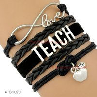 apple suede - Infinity Love to Teach Charm Bracelets Teacher Apple Suede Black Wax Cords Silver Women Men Lady Girl Jewelry Gift Custom Drop Shipping