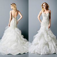 Wholesale Luxury Inbal Dror Wedding Dresses Sexy Bling Beaded Crystal Spaghetti Straps Mermaid Backless Tiered Layers Organza Bridal Gowns Long