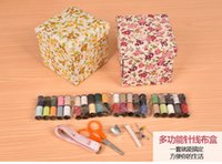 baby quilt fabric kits - Multi function Sewing Basket Practical Home Furnishing Sewing Box Folding Flowers Sweing Basket with Sewing Kit Accessories