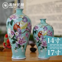 art ceramic - Gorgeous Mermaid Pure hand painting Ceramic Table vase Small Size floral and Bird pattern china classic Arts and crafts Home Decoration
