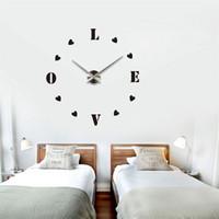 acrylic wall letters - Modern Fashion DIY Large Wall Acrylic Clock D Sticker Quartz Love Letters Clock Home Wall Decor