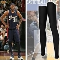 basketball leg sleeve - Hot selling Basketball Leg Sleeve Sport Compression Calf Stretch Brace Thigh Protect knee black white