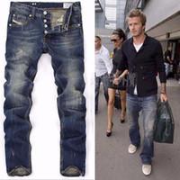 beckham jeans - High Quanlity men famous brand blue denim designer high quality ripped jeans for men classic retro David Beckham
