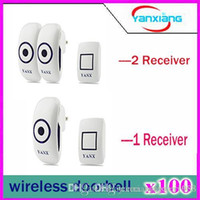 Wholesale 100pcs Plug in Wireless Doorbell Operating at feet CD Quality Sound and LED Flash Tunes Door Bell YX ML