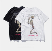 Wholesale INF Mens summer kanye west yeezus T shirt men skull religious style new hight quality dree