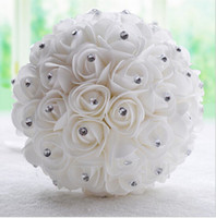 beautiful roses flowers - Beautiful White Ivory Bridal Bridesmaid Flower wedding bouquet de noiva artificial flower rose bouquet Crystal bridal bouquets