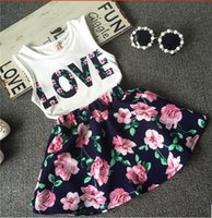 baby dress suits - 2016 new Summer Girl letter LOVE flower dress suits children cotton lovely Sleeveless vest T shirt floral skirt suit baby clothes