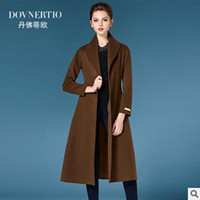 Wholesale 2016 new autumn and winter fashion big hand sided cashmere coat woolen coat women long section belt worldwide