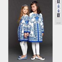 achat en gros de mousson filles robe blanche-2016 Nouvelle Automne Wl mousseline robes filles bleu et blanc de fleurs jacquard à manches longues robes enfants robes de coton de haute qualité