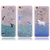 animal iphone case - hot sale cell phone case cute Dolphin Penguin polar bear sea animal flow sand glittering pc hard crystal case for iphone plus