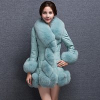 Wholesale 2016 New Famous Brand PU patchwork medium long fox fur coat thickening overcoat women s clothing Plus size S XL