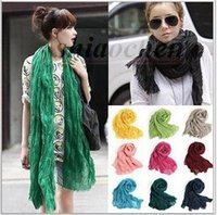 beach scarf wraps - Women Voile Solid Color Scarf Fashion Neckerchief Summer Neck Shawl Wrap Beach Silk Scarves Stole Bandana HeadScarf Pashmina Sarong A770