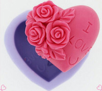 Wholesale 3D Silicone Soap Mold Heart Love Rose Flower Chocolate Mould x3cm Candle Polymer Clay Molds Crafts DIY Forms Soap Tool E142