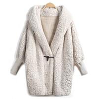 apricot woolen - 2016 Hooded Outwear Winter Newest Fashion Design Women s Apricot Batwing Long Sleeve Loose Streetwear Hoody White Coat