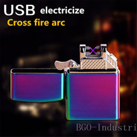 Wholesale Top creative simplicity pulse wind proof double arc lighter USB charging advertisement lighter