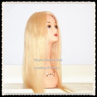 Cheap #613 Blonde Blonde Full Lace Wigs Best Chinese Hair Straight Light Blonde Full Lace Wigs