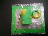 achat en gros de ensembles de batterie-Kit 1pcs Wax Silicone Set avec feuilles carrées Tampons mat baril tambour 26ml outil huile de silicone contenant de dabber pour les bocaux d'herbes sèches dab