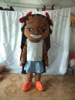 Wholesale Black skin girl cartoon mascot costume