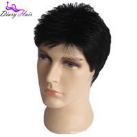 Wholesale 100 Men short Human Natural Hair Wigs grade Short Full Hair Mid Adult Men cheap black brown best wigs for mens