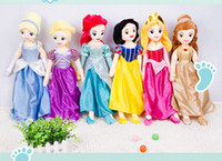 0-12 Months belle doll - High Quality cm Soft Plush Stuffed Princess Rapunzel Snow White Ariel Aurora Belle Cinderella Princess dolls for Girl Gift