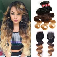 Wholesale 6A Malaysian Ombre Body Wave B Bundles With Closure Virgin Malaysian Curly Hair Weave Inch Body Wave Ombre Hair