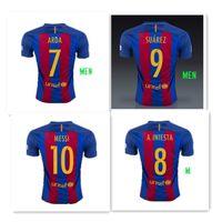 Wholesale 2016 Barcelona soccer jersey leo Messi neymar jr a Iniesta Suarez jersey thailand thai men soccer jerseys home football shirt