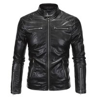 Wholesale Fall Cool Fashion Vintage Motorcycle Jacket Factory Sale European Mens Leather Biker Jacket High Quality XL S1964