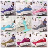 Wholesale Mermaid Tail Blanket cm Warm and Soft Blankets Hand Crocheted Bedding Wrap Sofa air condition Blankets colors OOA805