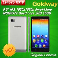 Wholesale Original Lenovo K910 Vibe Z Mobile Phone IPS Quad core Snadragon CPU GB RAM MP MP Dual SIM G GPS Android