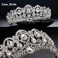 beaded headband designs - New Design Stunning Bridal Cown Sparkle Beaded Crystals Wedding Crowns Bridal Crystal Veil Tiara Crown Headband Hair Accessories Party Tiara