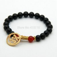 designer inspired jewelry - 2014 New Products mm Natural Black Agate Stone Beads Om Inspired Yoga Meditation Bracelets Jewelry beaded designer jewelry