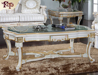 antique glass coffee tables - Luxury Royalty living room furniture Frenchclassic coffee table with glass top Italian rectangle table