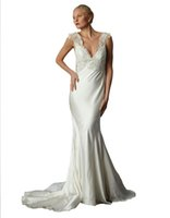 bias golds - Bias Cut Jeweled Mermaid Wedding Gowns Lace Appliques Deep V Neckline Bridal Gowns Silk Satin Backless Wedding Gowns Chapel Train