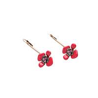 Pink Rhinestone Stamen Corail Emaillé Fleur Pendentif Porte-boucles d'oreille Stud Antique Or Ladylike 3D Flower Dangle Earring OEM ODM Accepté