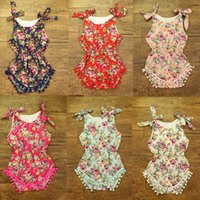 baby onesie sets - 2016 baby girl toddler piece set outfits lace fringe tassels cotton floral romper onesie bloomers diaper covers bowknot headband