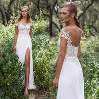 Cheap 2017 New Boho Off Shoulder Thigh-High Slits Chiffon Wedding Dresses A Line Beach Backless Lace Appliqued Bridal Gowns Bohemian Party Gowns