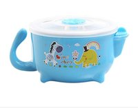 Wholesale Burst ML child stainless steel water bowl insulation baby tableware hot and cold dual use three colors optional