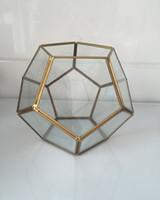 art home decoration ball - football brass metal glass air plant Geometric terrariums balls flower vase for friend gift Prism Glass Terrarium Air Plant