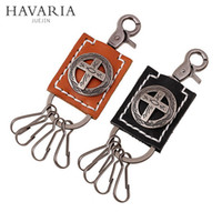 antique car emblems - Cross Emblem Keychain Primitive painting Antique Copper Plated Keyrings Carabiner Car Keychain with Leather for Boys pkys