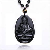 al por mayor guan yin del jade-Moda Negro Obsidiana Natural Collar Ruyi Guan Yin colgante para las mujeres de los hombres Adornos de joyería fina de la vendimia Jade 55 * 35mm