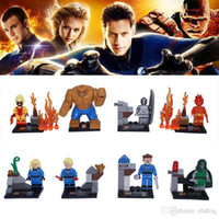 Wholesale 8pcs Marvel Fantastic Four4 Super Heroes Building Blocks Dr Doom Magical Stones Mr Silver Surfer Invisible Woman Model Minigures Toys