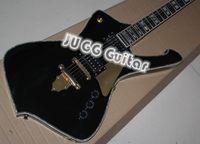 venda por atacado electric mop-PS10 ICEMAN Paul Stanley Assinatura faísca elétrica preta Guitarra de Ouro Chama Shaped arremate Abalone Branco MOP Bloco de incrustação de ouro Hardware